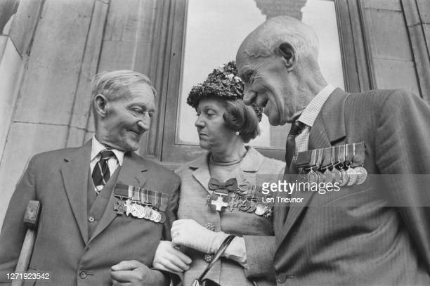 From left to right, Sergeant Robert Edward Ryder VC , SOE agent Odette Hallowes and Lieutenant-Colonel Tom Edwin Adlam VC at a convention of wartime...