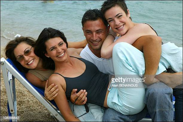 From left to right Shirley Bousquet Adeline Blondieu Frederic Deban and Benedicte Delmas in Monaco on July 01 2003