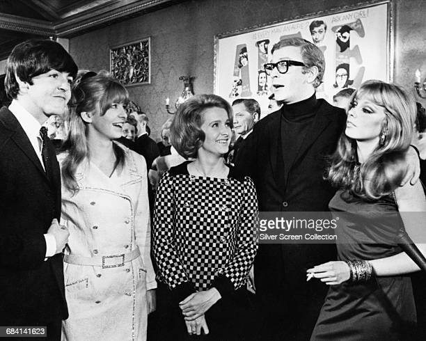 From left to right singer and musician Paul McCartney of the Beatles his girlfriend actress Jane Asher actress Millicent Martin actor Michael Caine...