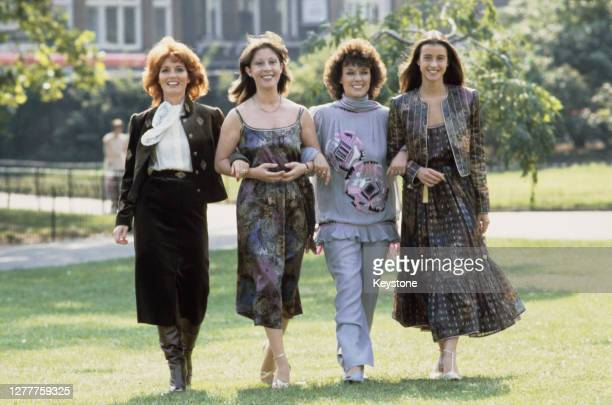 From left to right, singers Julie Rogers and Helen Shapiro, actress Jill Gascoine and model Emma Jacobs at a charity fashion show, UK, September 1981.
