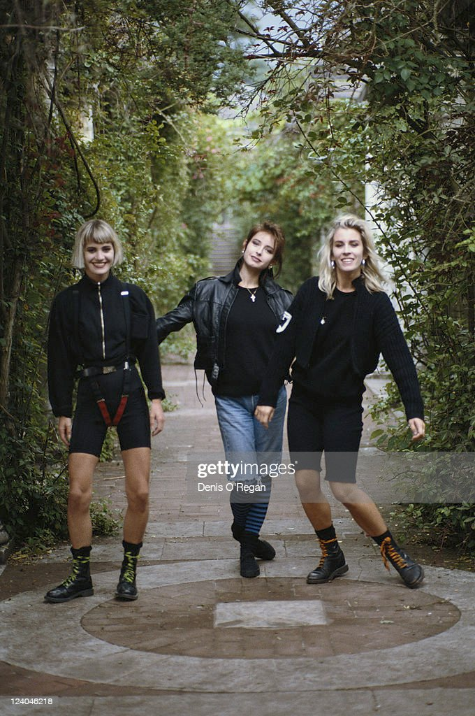 From left to right, Siobhan Fahey, Keren Woodward and Sara Dallin of British pop group Bananarama, circa 1986.