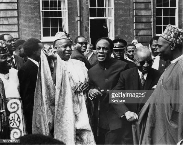 From left to right Sir Albert Margai Prime Minister of Sierra Leone Kwame Nkrumah President of Ghana Dr Hastings Banda Prime Minister of Malawi and...