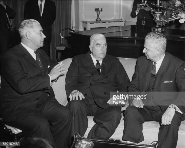 From left to right Sir Keith Holyoake the Prime Minister of New Zealand Robert Menzies the Prime Minister of Australia and John Diefenbaker the Prime...