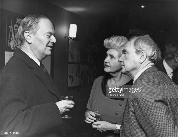 From left to right Sir Kenneth Clark Jennie Lee Minister for the Arts and sculptor Henry Moore at a preview of the new BBC2 television series...