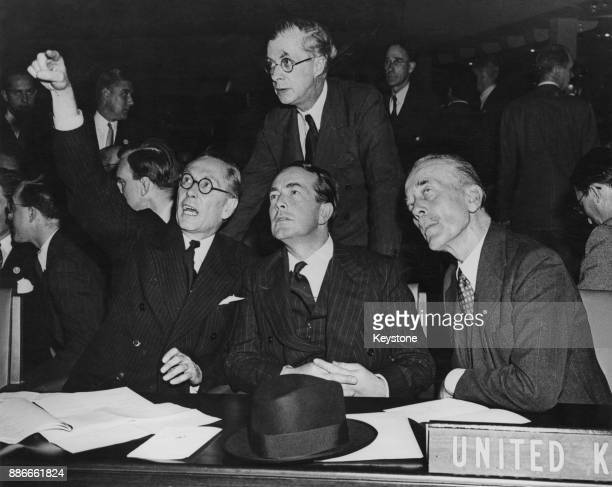 From left to right Sir Philip NoelBaker Sir Hartley Shawcross and Sir Alexander Cadogan represent the United Kingdom at the United Nations General...