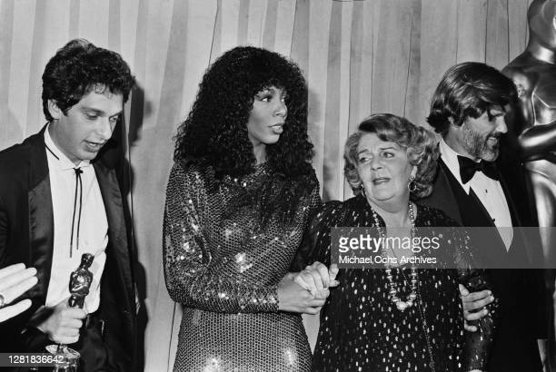 From left to right, songwriter Paul Jabara, singer Donna Summer, actress Ruby Keeler and actor Kris Kristofferson at the 51st Academy Awards at the...