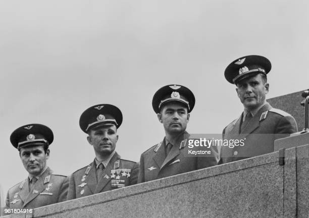From left to right Soviet cosmonauts Gherman Titov Yuri Gagarin Andriyan Nikolayev and Pavel Popovich Moscow August 1962