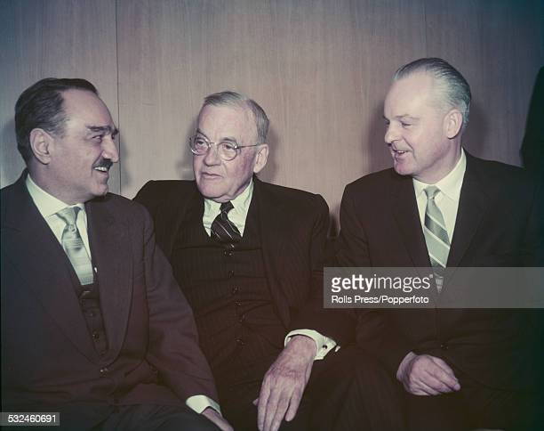 Soviet First Deputy Premier Anastas Mikoyan conducts talks with American Secretary of State John Foster Dulles and Russian ambassador to the United...