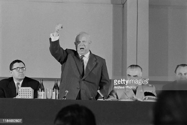 From left to right, Soviet Foreign Minister Andrei Gromyko, Soviet premier Nikita Khrushchev and Soviet Defence Minister Marshal Rodion Malinovsky in...