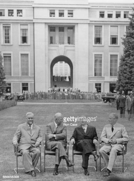 From left to right Soviet premier Nikolai Bulganin US President Dwight D Eisenhower French Prime Minister Edgar Faure and UK Prime Minister Sir...