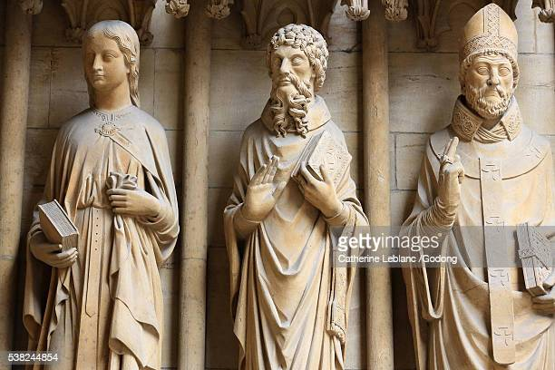 from left to right : st. cecilia, st. jerome and st. arnulf. st. stephen cathedral of metz. - st. cecilia stock photos and pictures