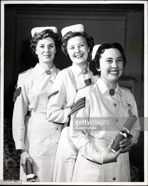 From left to right Staff Sergeant Alwyn Mary Ellis of Leicester Lance Corporal Margaret Sheila Wilson of Leeds and Sergeant Sylvia Maureen Sambrooks...