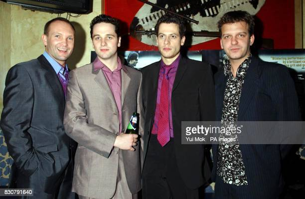 From left to right stars of the film Welsh actors Andrew Howard Matthew Rhys Ioan Gruffyd and Jason Hughes at the premiere of 'Shooters' at Planet...