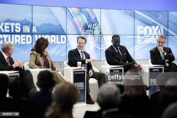 From left to right Stephen Schwarzman billionaire and cofounder chairman and chief executive officer of Blackstone Group LP Adena Friedman president...