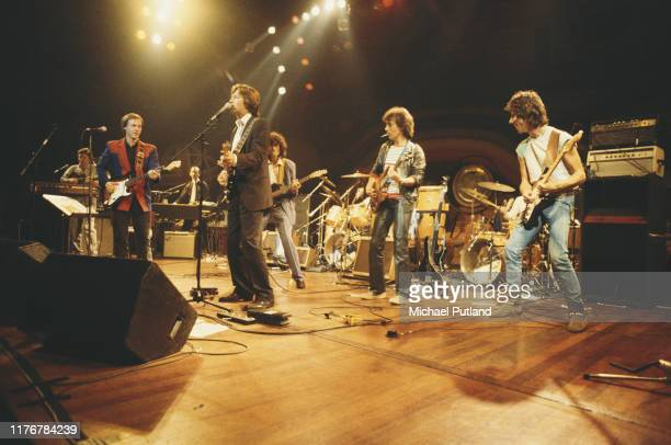 From left to right Steve Winwood Andy Fairweather Low Chris Stainton Eric Clapton Jimmy Page Bill Wyman and Jeff Beck performing on stage at a...