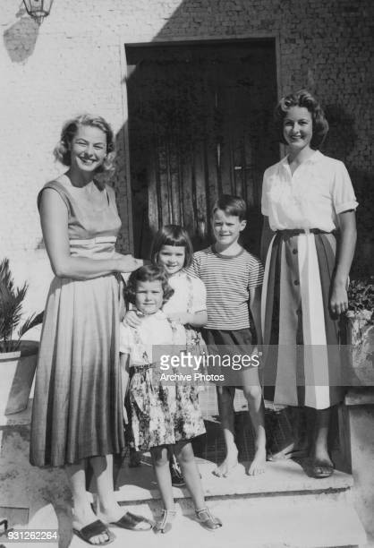From left to right Swedish actress Ingrid Bergman with her children Isotta Isabella and Roberto Rossellini and Pia Lindström at a villa in Santa...