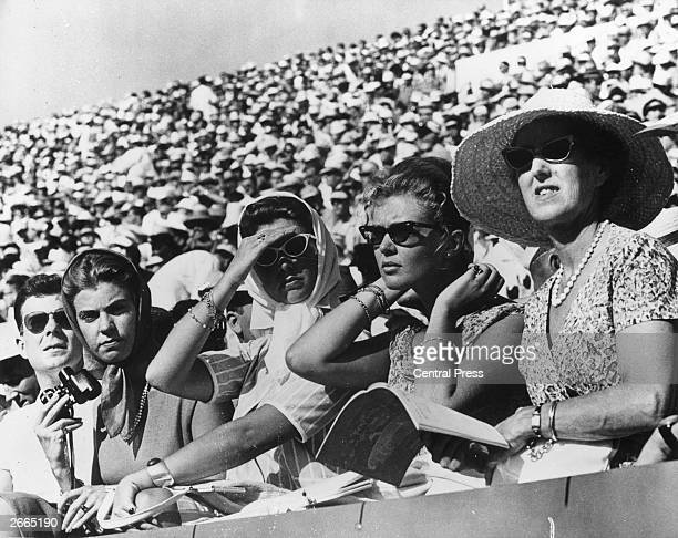 From left to right Swedish princesses Desiree Margaretha and Birgitta at the Olympic stadium in Rome to watch the athletics