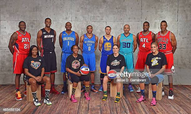 From Left to right Swin Cash New York Liberty Chris Bosh of the Miami Heat Dominique Wilkins of the Atlanta Hawks Tamika Catchings of the Indiana...