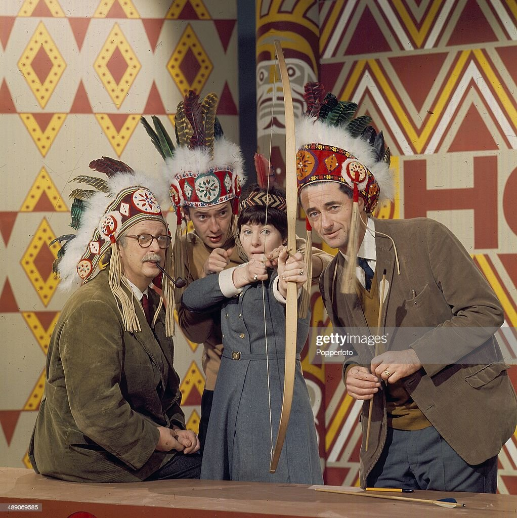 Television presenters Jack Hargreaves (1911-1994), Fred Dinenage, Jill Graham and Jon Miller (1921-2008) pictured on the set of the television show 'How' in 1968.