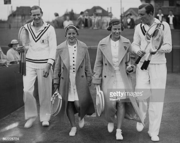 From left to right tennis champions Charles Hare Anita Lizana Mrs Allison and Fred Perry on their way to the court for a Mixed Doubles Exhibition...