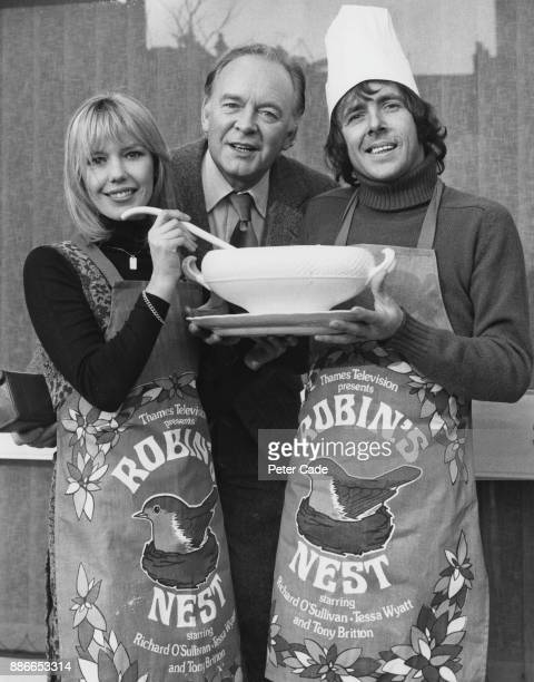 From left to right, Tessa Wyatt, Tony Britton and Richard O'Sullivan, the stars of the Thames Television sitcom 'Robin's Nest', during rehearsals for...