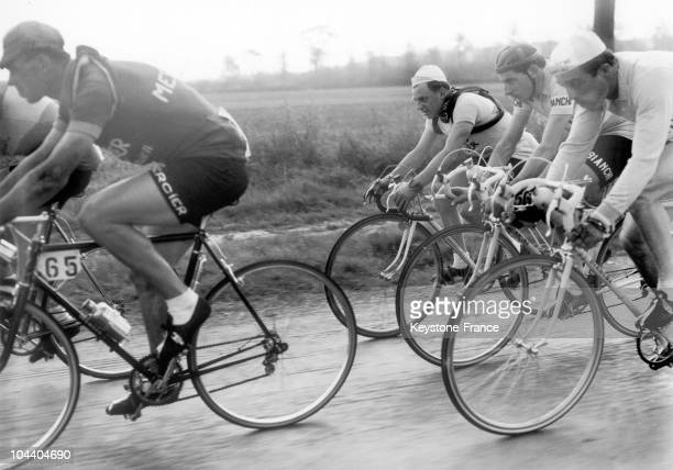 From left to right the cyclists Rik VAN STEENBERGEN Fausto COPPI and Gianni PETRUCCI participated in ParisRoubaix cycle race
