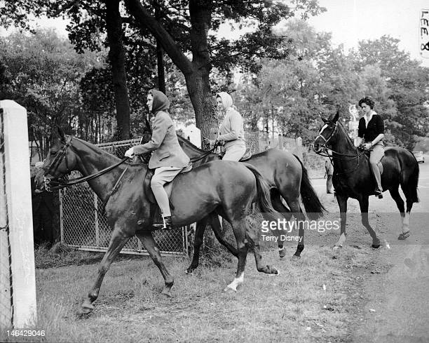 From left to right, the Duchess of Gloucester, Princess Alexandra of Kent and Lady Lily Serena Lumley arrive at Swinley Bottom, for the last day of...