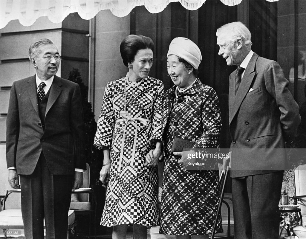 From left to right, The Emperor Hirohito of Japan (1901 - 1989), the Duchess of Windsor (1896 - 1986), the Empress Nagako of Japan and the Duke of Windsor (1894 - 1972), while at the Windsors' home in Paris. The last time they met was in Tokyo in 1922.