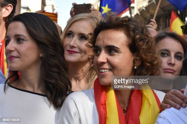 From left to right the leader of the opposition in Catalonia by Ciutadans Ines Arrimadas the President of the community of Madrid Cristina Cifuentes...