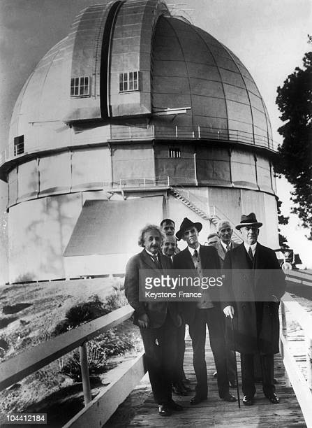 From left to right the professor Albert EINSTEIN the director of the Mount Wilson observatory DrWalter S ADAMS and the astronomist William W CAMPBELL...