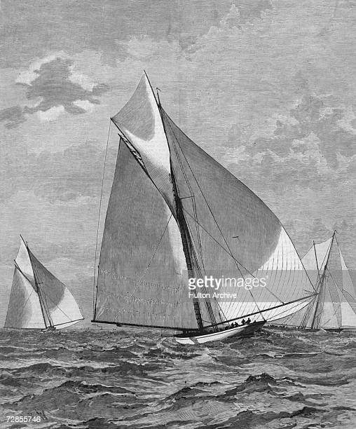 From left to right the Volunteer the Mayflower and the Thistle during the selection trials for the America's Cup sailing race 16th September 1887 The...
