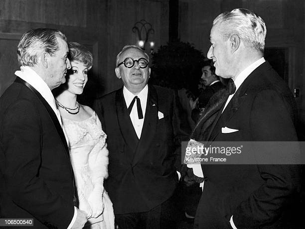 From Left To Right The Writer Marcel Pagnol And Her Wife Jacqueline The Playwright Marcel Achard And The Italian Director Vittorio De Sica On The 2Nd...