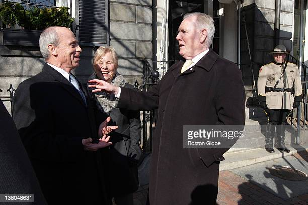 From left to right Tom Finneran and Kathy and Ray Flynn on Beacon Street waiting to attend the wake of former Boston mayor Kevin Hagan White held at...
