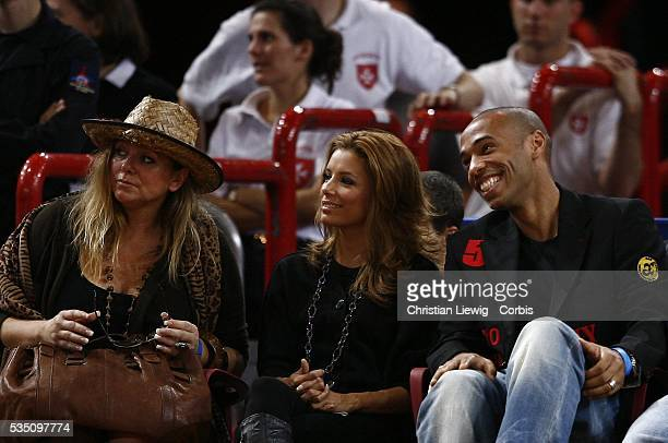 Tony Parker's mother Pamela American actress Eva Longoria and French soccer player Thierry Henry during the NBA Europe Live Tour match between...