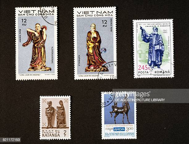 From left to right top to bottom two postage stamps depicting Zhou Gong Vietnam postage stamp depicting Johannes Horeus Romania postage stamp...