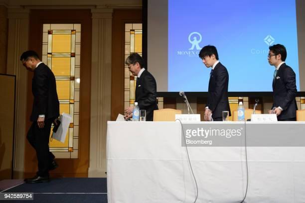 From left to right Toshihiko Katsuya chief operating officer of Monex Group Inc Oki Matsumoto president and chief executive officer of Monex Group...