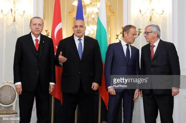 From left to right Turkey's President Recep Tayyip Erdogan Bulgaria's Prime Minister Boyko Borisov European Council President Donald Tusk and...