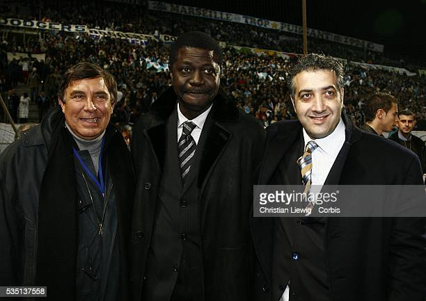 TV presenter and OM fans president JeanPierre Foucault OM President Pape Diouf and OM future owner Jack Kachkar after the French Cup soccer match...