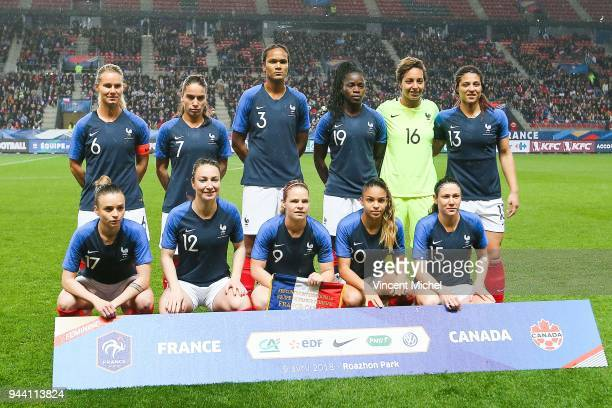 Amandine Henry Amel Majri Wendie Renard Griedge Mbock Bathy Sarah Bouhaddi and Valerie Gauvin of France From left to right down Marion Torrent...