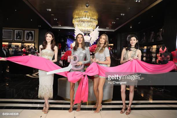 From left to right Victoria's Secret Angels He Sui Alessandra Ambrosio Josephine Skrive Xi Mengyao attend the Grand Opening Of Victoria's Secret...