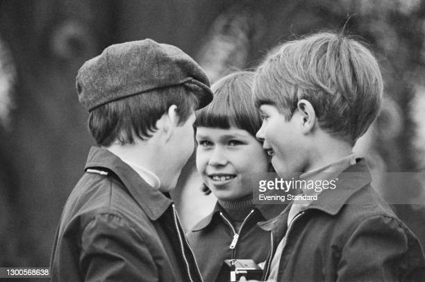 From left to right, Viscount Linley, Lady Sarah Armstrong-Jones and Prince Edward at the Badminton Horse Trials, UK, April 1973.