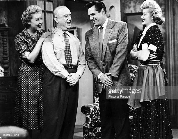 From left to right, Vivian Vance, William Frawley, Desi Arnaz and Lucille Ball on the popular television series 'I Love Lucy', circa 1955.