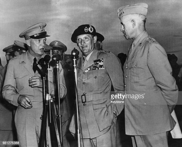 From left to right, wartime leaders General Dwight D. Eisenhower , Field Marshal Bernard Law Montgomery and General Omar Bradley meet in the US after...