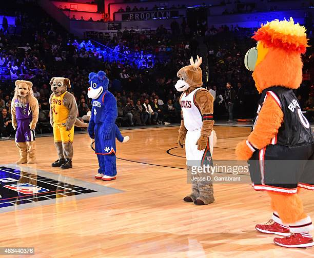 From Left to right we have Mascots representing the Sacramento Kings Bailey Moondog from the Cleveland Cavaliers Franklin from the Philadelphia 76ers...