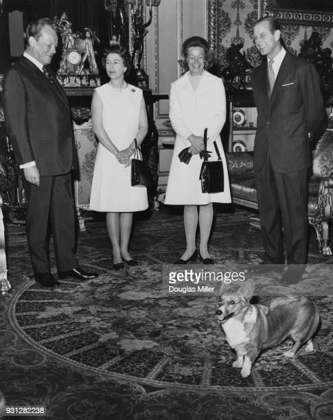 From left to right West German Chancellor Willy Brandt Queen Elizabeth II Brandt's wife Rut and the Duke of Edinburgh at Windsor Castle during the...