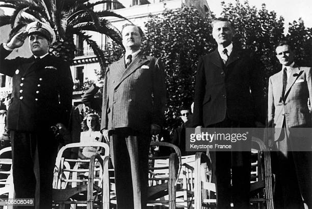From Left To Right While The Troops Were Parading Admiral Henri Nomy Alfred Duff Cooper the British Ambassador to France the French Ambassador To...
