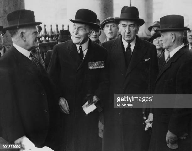 From left to right William Joseph Jordan High Commissioner for New Zealand Major General Sir Ian Standish Monteith Hamilton of the British Army...