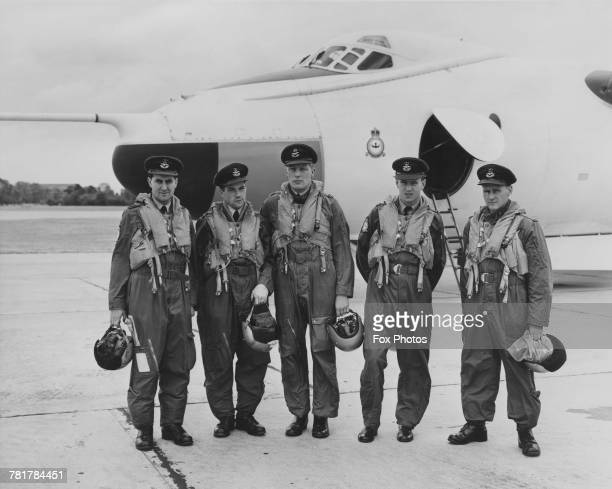 From left to right Wing Commander MJ Beetham Flight Lieutenant GE Bregdon Flight Lieutenant SR Coupland Flight Lieutenant JE Taylor and Flying Office...