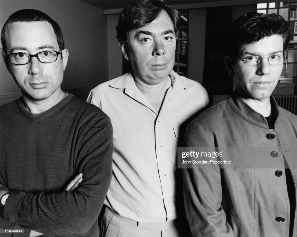 From left to right, writer Ben Elton, composer Andrew Lloyd Webber and director Robert Carsen, who are collaborating on the West End musical 'The Beautiful Game', circa 2000.