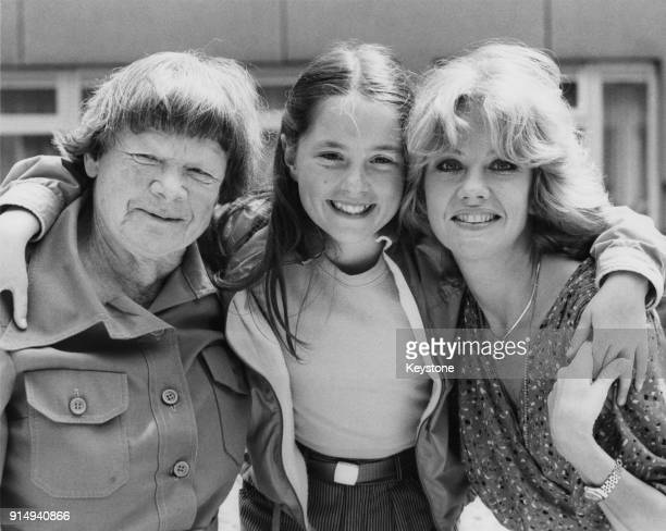 From left to right writer Elspeth Huxley with actresses Holly Aird and Hayley Mills at Thames TV studios in London where they are making the...